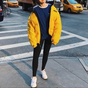 Yellow Retro Tommy Hilfiger Puffer Down Jacket